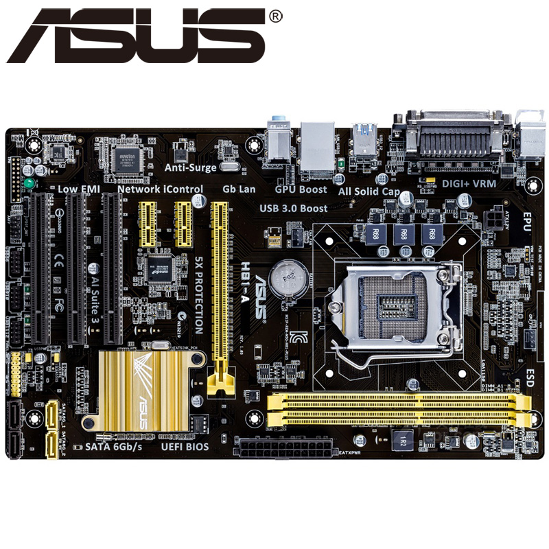 Asus H81-A Desktop Motherboard H81 Socket LGA 1150 i3 i5 i7 DDR3 16G ATX UEFI BIOS Original Used Mainboard Hot Sale asus m5a78l desktop motherboard 760g 780l socket am3 am3 ddr3 16g atx uefi bios original used mainboard on sale