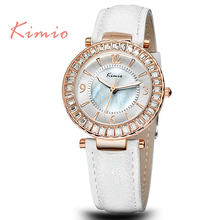 TGJW742 KIMIO High Quality Brand Natural Pearl Shell Watch Face Fancy Alloy Case Shinning Rhinestone Lady Wristchwatch