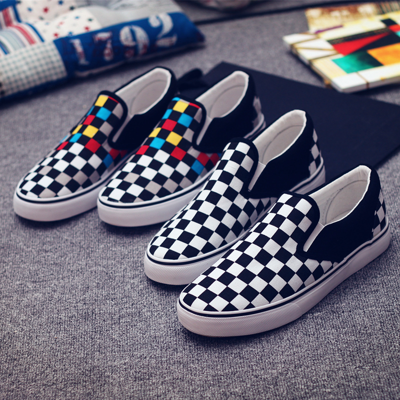 New Type Women Canvas Shoes Checkbered Couples Summer Comfortable Footwear Casual Shoes For Women Lace-Up Breathable Flat Shoes