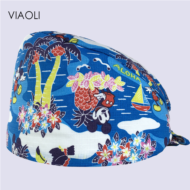 Viaoli New Spring And Summer Multicolor Marina Park Motifs Printing Operating Room Hats Beauty Doctors Work Cap Cotton