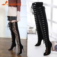 KARINLUNA Brand New Big Size 40 Cross Tied Zip Ladies High Heels Hollow Shoes Woman Casual Party Sexy Summer Over The Knee Boots