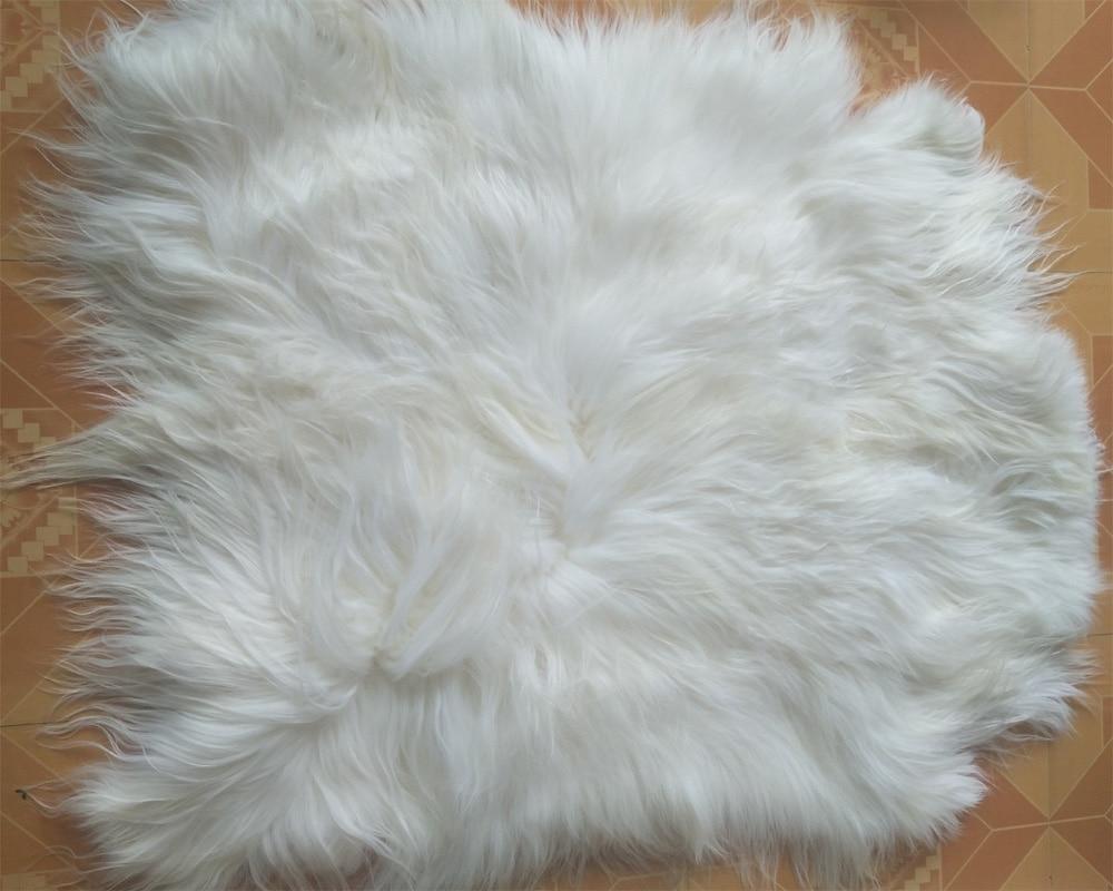 Real Long Straight Wool Goat Fur Pelt Hide Rug Plate