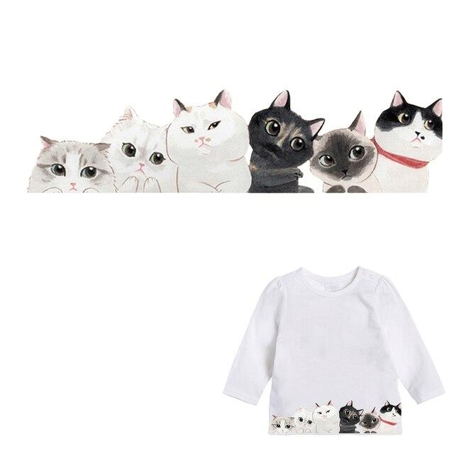 Прекрасные кошки детская одежда патчи наклейки Утюг-на жару DIY украшения аппликация Parches для ребенка платье с топом