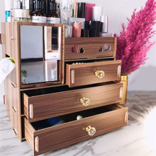 1PCs Large Capacity Wooden Cosmetics Organizer Makeup Storage Box With Mirror Desktop Organizer Sundries Case Lipstick Boxes(China)