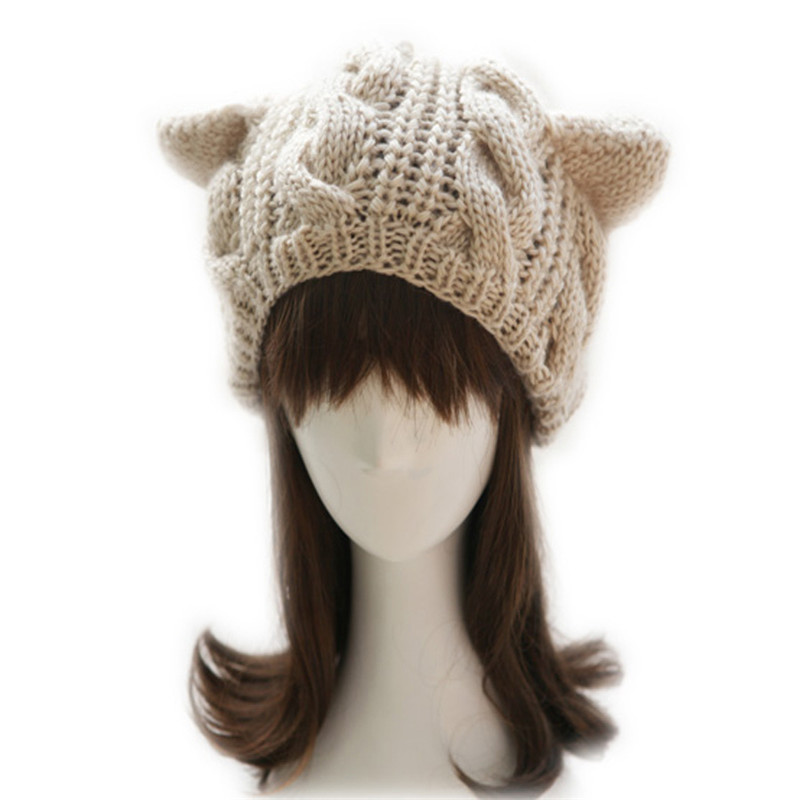 Winter Women   Beanie   Autumn Lady   Skullies   Warm Candy Color Orecchiette Wool Cats Ear Knitted Girl Female Hat Girl Cap Beret M024