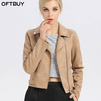 OFTBUY Brand 2017 Stree Style Casual Autumn Winter New Suede Solid Khaki Slim Zipper Faux Leather