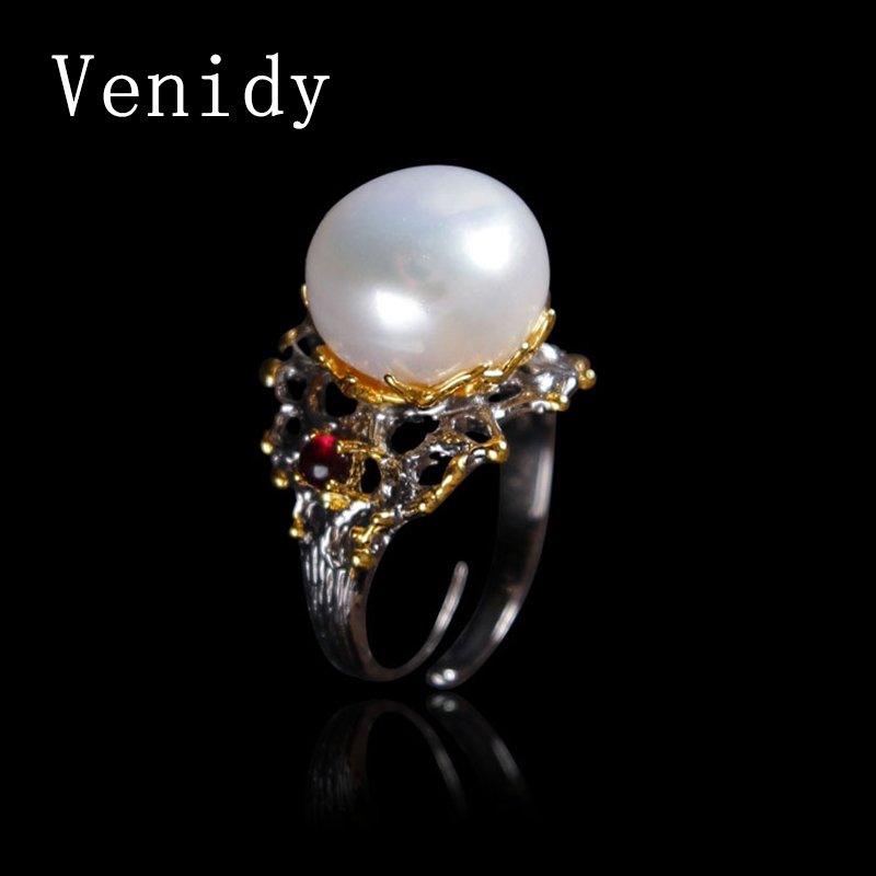 Venidy Baroque Pearl Jewelry,Natural Pearl rings for love,Freshwater Pearl 925 Silver ring,ruby silver rings for women gift box black cool new 925 silver polishing cloth 100pcs each plastic bags free for pearl golden jewelry rings necessity quality 11 7cm