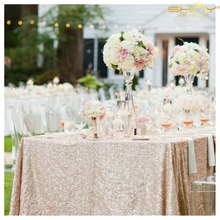 ShinyBeauty 48x72in Champagne/Gold/Silver Embroidery Mesh Sequin Tablecloth Sequin Table Overlay for Wedding/Party Decoration
