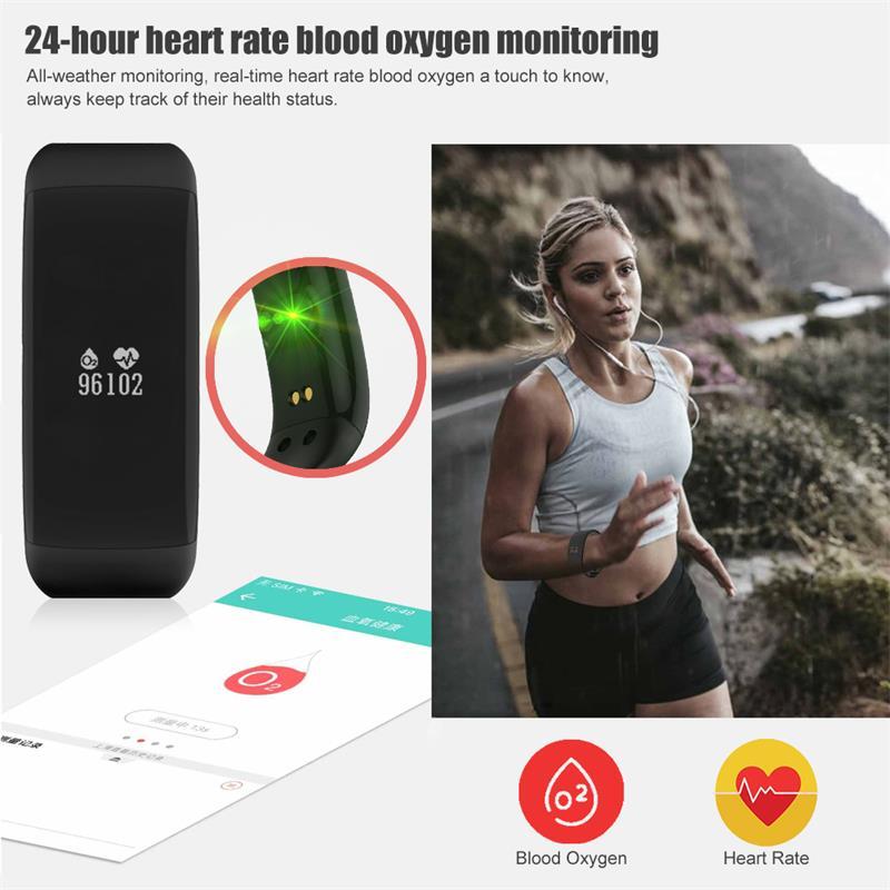 V66 pulsera inteligente impermeable Monitor de ritmo cardíaco de las mujeres de los hombres de banda inteligente reloj de alarma reloj SmartWatch para Android IOS