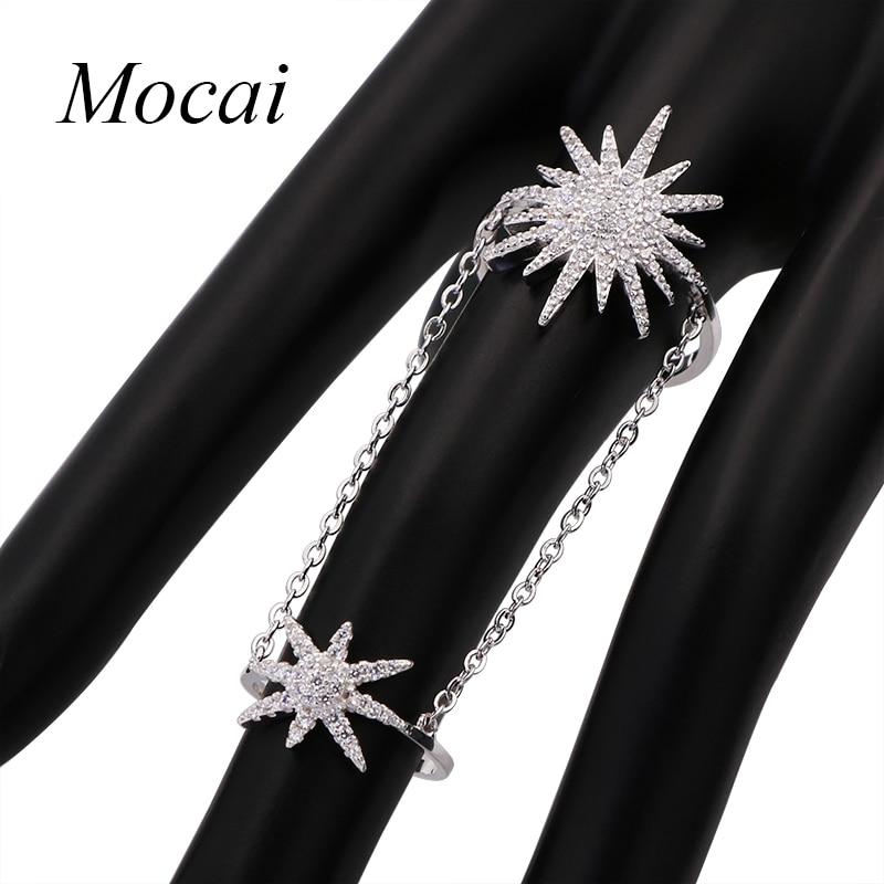 Известный бренд Дизайн двойной суставы пальцев подсолнечника и звезда кольцо для Для женщин Одежда высшего качества кубический цирконий, ювелирные Лидер продаж zk30