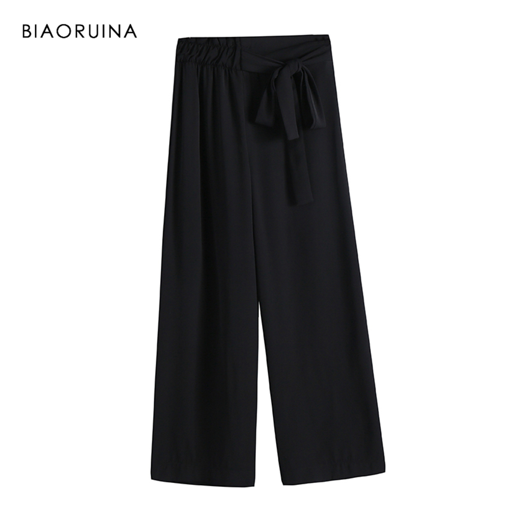 BIAORUINA Women Black Solid Fashion Ankle-Length   Pant   Female Loose   Wide     Leg     Pant   Women's Casual High Waist   Pant   Trousers