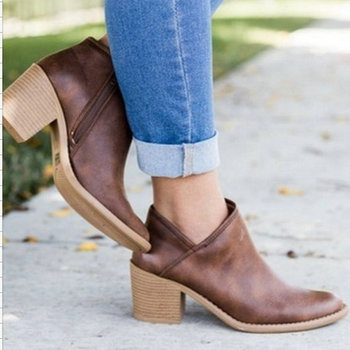 Women Ankle Boots 2018 new Square High Heel Boots for Woman Fashion Zip Autumn Winter Womens Boots Shoes Boots