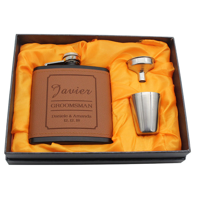 Personalized Leather Flask for Wedding Party