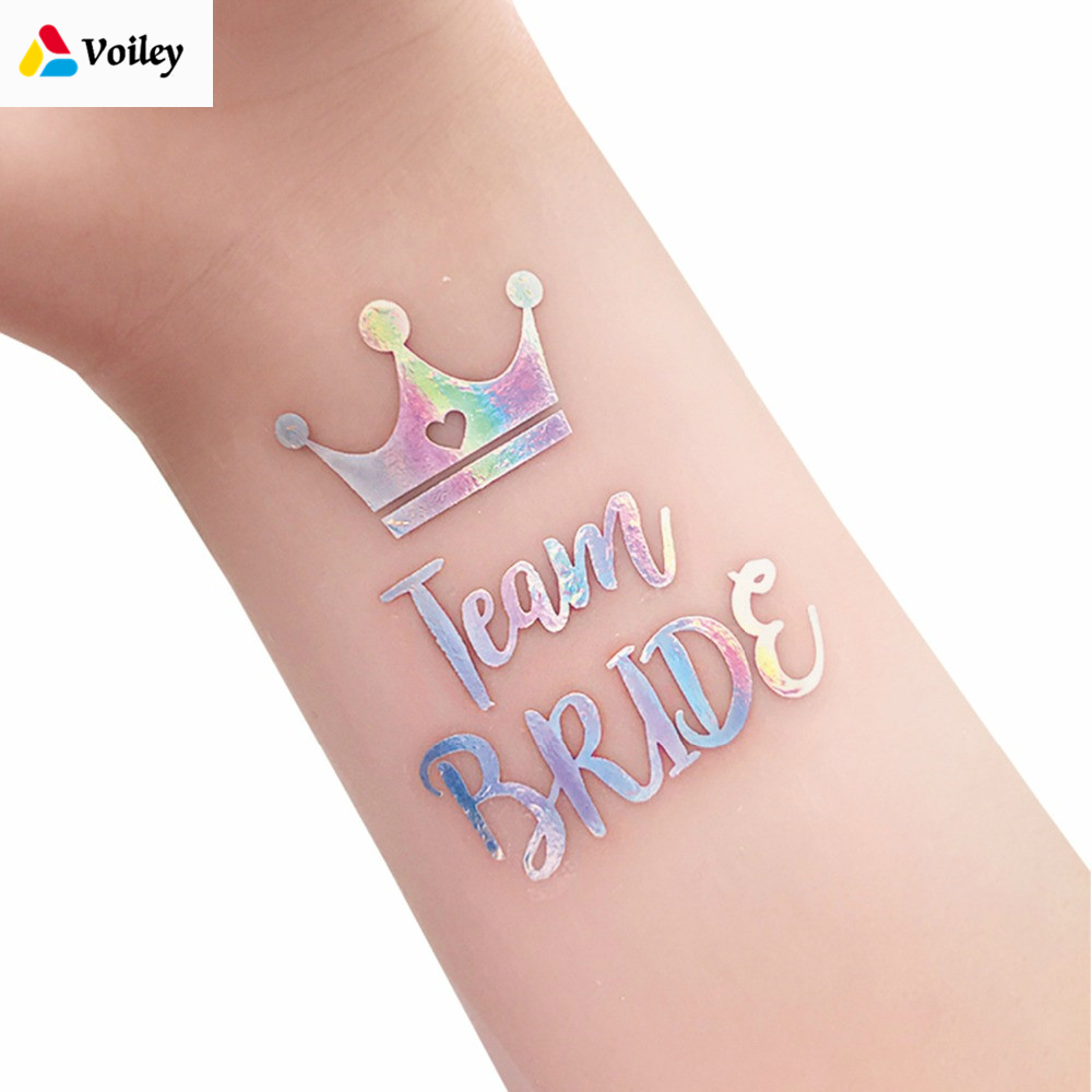 12pcs Bride To Be Wedding Decor Event Hen Party Accessories Supplies Rainbow Silver Bridesmaid Bridal Shower Tattoos Sticker,Q(China)