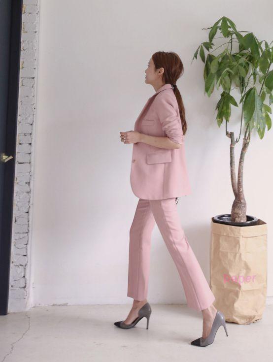 Casual Costume Jambe Neuf Printemps Nouvelle D'un Femme Rose Coréenne Ensemble De Version Mode Pantalon Large Petit wxAqXOF