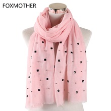 New Design Women's Plain scarfs With bead diamond studs pearls scarves shawl Pear Wrap solid color muslim hijab scarf Women