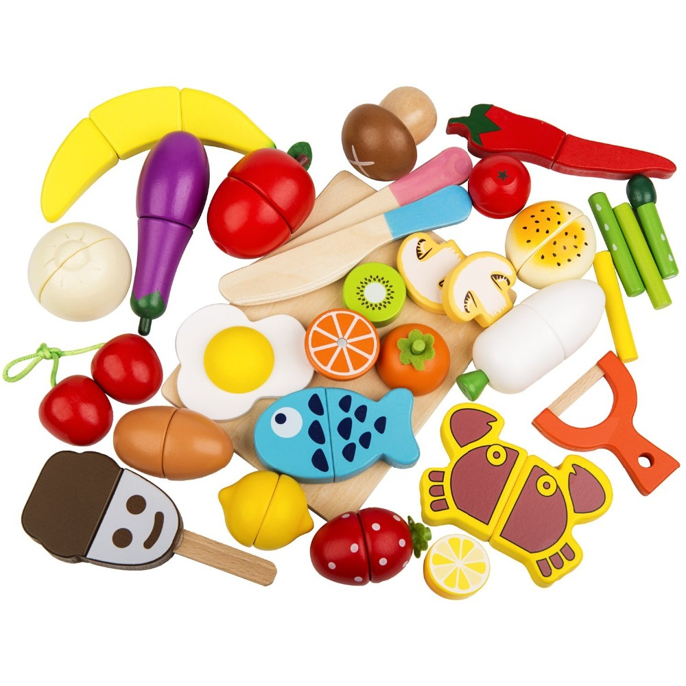 Play Food Set 30 Pcs Wooden Cutting Food Magnetic Fruits and Vegetables Kitchen Set Educational Toy