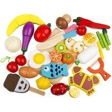 Игрушечный набор продуктов 30 шт. деревянный резка еда Магнитная фрукты и овощи кухня набор образовательных игрушка для детей дошкольного возраста