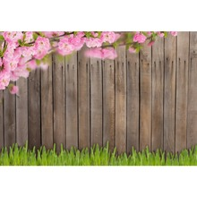 Laeacco Flowers Wooden Boards Wall Grassland Baby Children Scene Photography Backgrounds Photographic Backdrops For Photo Studio