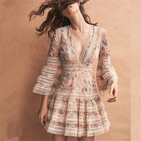 2018 fashion Dress Women High end Floral Embroidery Hollow Out Lace Dress V neck White/Black Bohemian Beach Dress