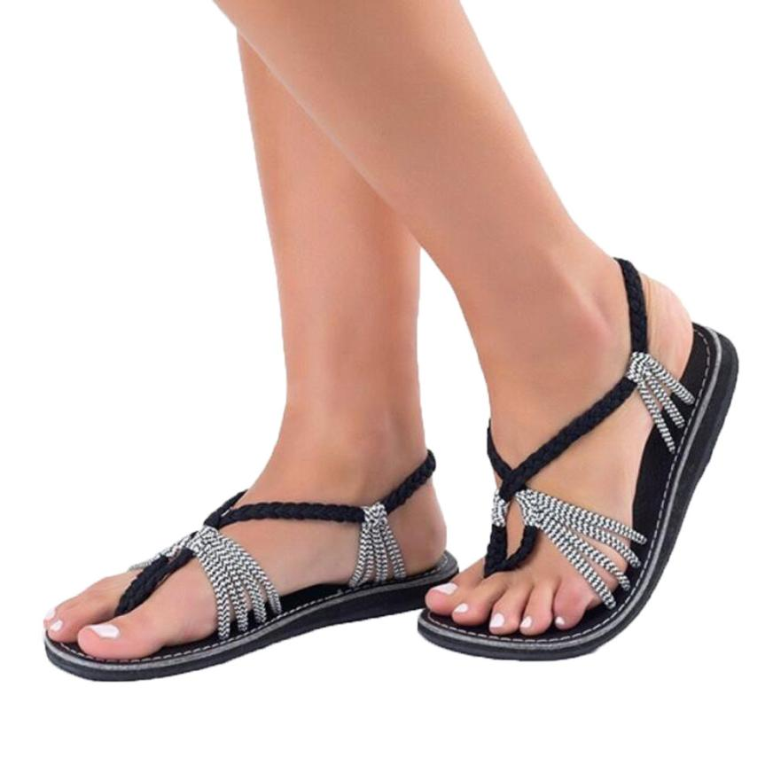 2018 women sandals summer shoes solid Round Toe Elastic band women sandals summer casual Fashion 5.10