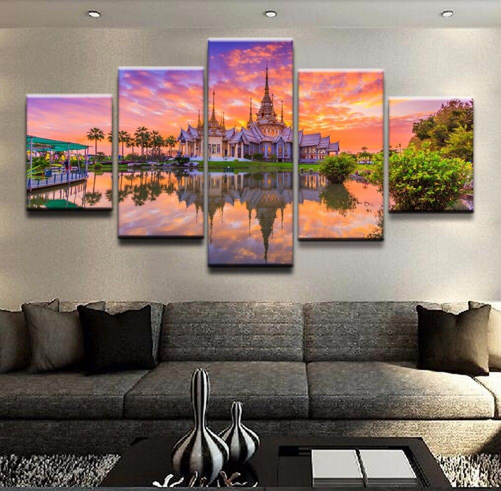 Canvas Hd Prints Paintings Home Decor 5 Pieces Reflection Sunset Thailand Religious Temple