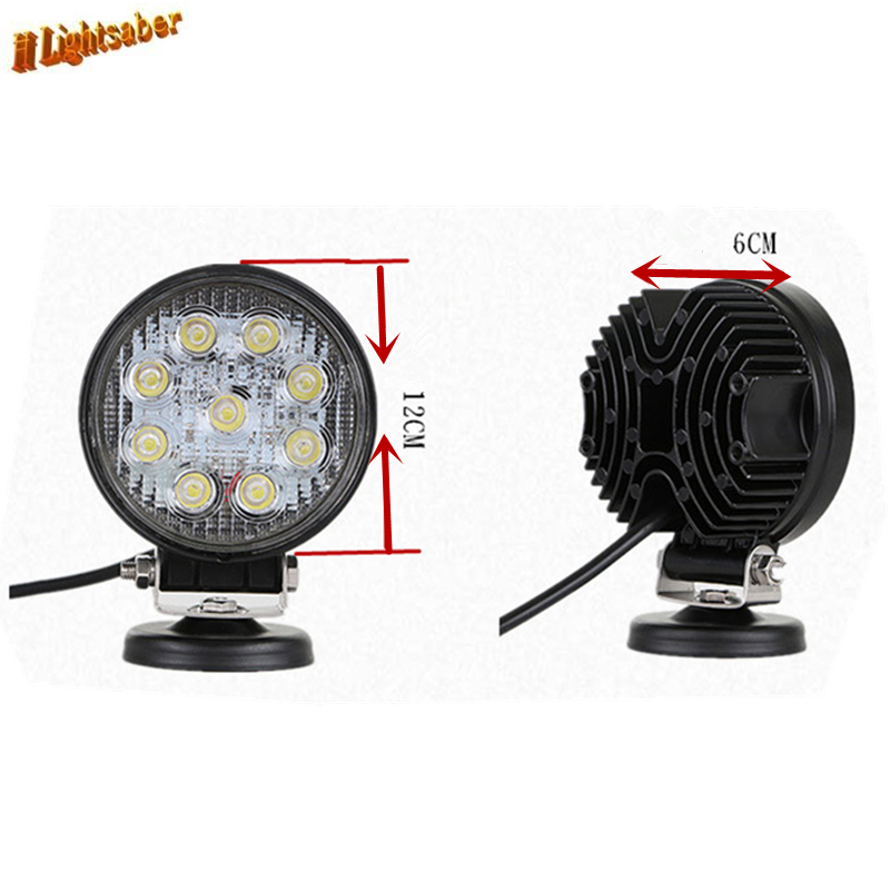 Купить с кэшбэком DC10V-30V 9LED 27W Round/Square Work Car Shoot  Light Floodlight Bright Lamp Warm White/White For Camp Truck ATV Strong light