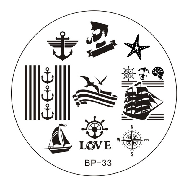 Sailors & Sea Sailing Theme Nail Art Stamp Template Image Plate