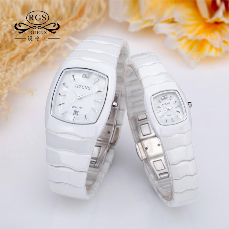 Man Woman Wristwatches Waterproof RGENS Brand Men Woman Watches Square 100% Ceramic Quartz Diamond Calendar Male Ladies Clocks