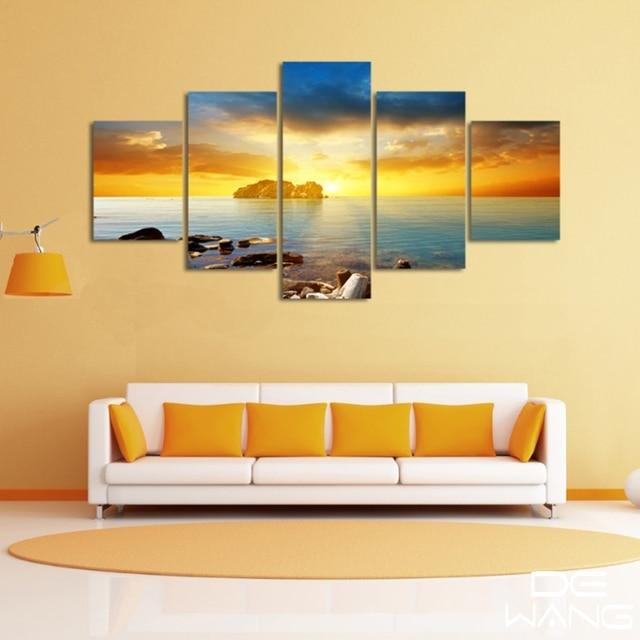 5 Pcs Panel Modern Mural Paintings Print Wooden Trestle Sunrise ...