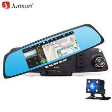 "Junsun android 6.86 ""fhd 1080 p coche dvr cámara de doble lente de espejo retrovisor de vídeo de navegación gps del coche dash cam"