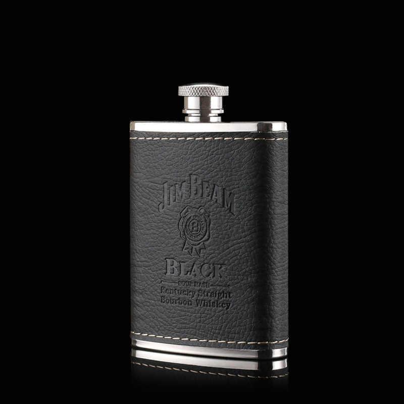 GFHGSD 3 オンスポータブル高級ステンレス鋼革ヒップフラスコセットウイスキーロシア屋外旅行フラスコアルコール男性最高ギフト