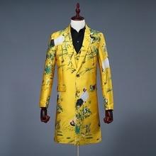 Pánské žluté sako s motivy ptáků