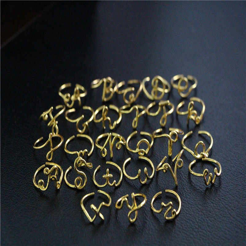 יוניסקס זהב כסף צבע A-Z 26 אותיות ראשוני שם טבעות לנשים גברים גיאומטרי סגסוגת Creative אצבע טבעות תכשיטים סיטונאי