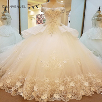 LS00081 Luxury Bridal Gown Off The Shoulder Beading 3D Flowers Ball Gown Lace Wedding Dress Vestidos