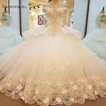 LS00081 Luxury bridal gown off the shoulder beading 3D flowers ball gown lace wedding dress vestidos de noivas real photos 2018(China)