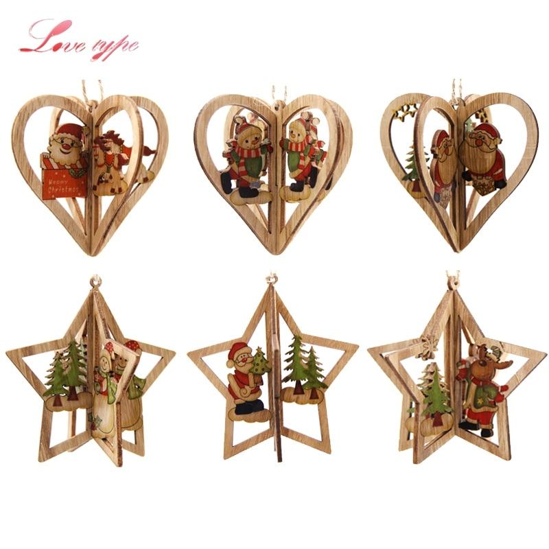 3Sets DIY Creative 3D Star&Heart Christmas Wooden Pendants ...
