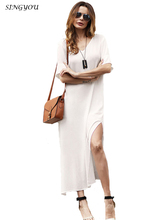 SINGYOU White Loose Vestidos Casual Summer Women Boho Short Sleeve ankle dress V-Neck Evening Party Beach Straight Dress