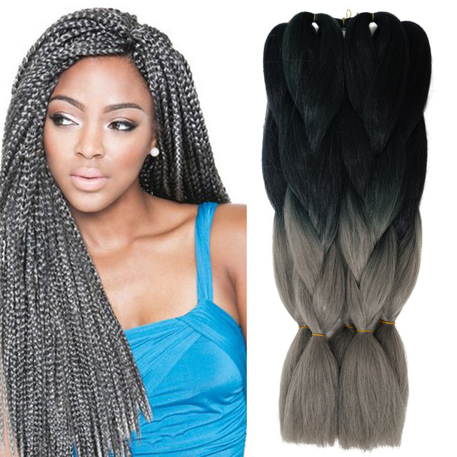 Dark Gray Braiding Hair Extensions Ombre Braiding Hair Kanekalon