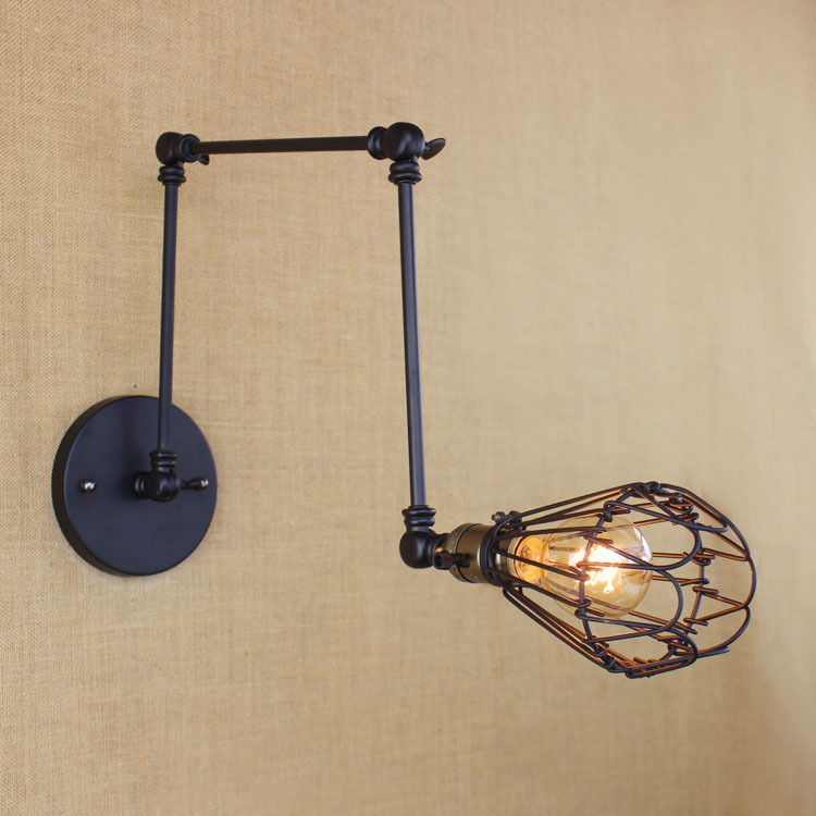 Industrial Vintage Iron Wall Lamp Loft Style Retro Bar Swing Arm Flower Cover Decoration Bedroom LED Wall Lights Free Shipping samba latin ballroom dancing women satin dance legend ballroom shoes girls close toe rhinestone salsa dancing shoes xc 6372