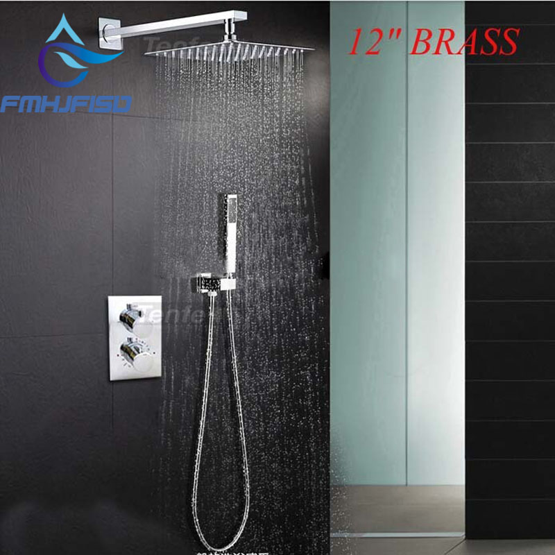 Free Shipping Wholesale And Retail Promotion Modern Wall Mounted 12 Rain Brass Shower Head Thermostatic Valve W/ Hand Shower
