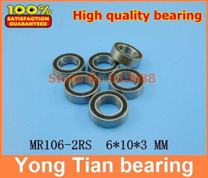 Free Shipping High quality 10PCS MR106-2RS ABEC-5 6*10*3 mm Miniature Ball Bearings MR106RS L1060 1pcs 71822 71822cd p4 7822 110x140x16 mochu thin walled miniature angular contact bearings speed spindle bearings cnc abec 7