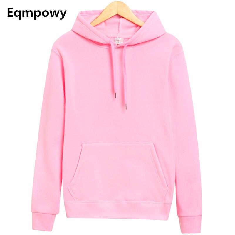 Eqmpowy 2017 Новый бренд балахон уличной хип-хоп однотонный розовый черный серый с капюшоном Толстовка мужская Толстовки и свитшоты Размеры xxl