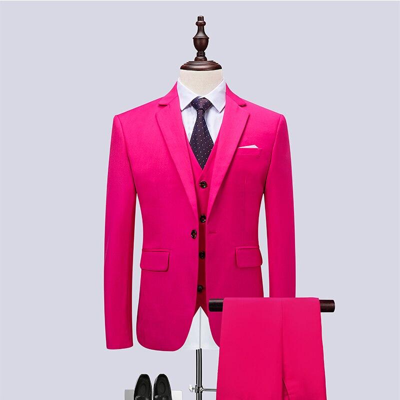แฟชั่นผู้ชายสามชิ้นชุดเอเชียขนาด S   6XL ผู้ชายชุดเสื้อและกางเกง Slim Fit mens Blazer-ใน สูท จาก เสื้อผ้าผู้ชาย บน   1