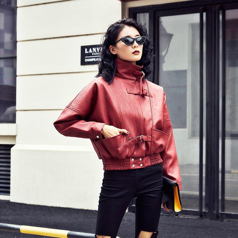 2019 New Autumn Free Motorcycel Biker Long Sleeve Coat Streetwear Wine Red Black Women Loose Faux Soft PU   Leather   Jackets Lady