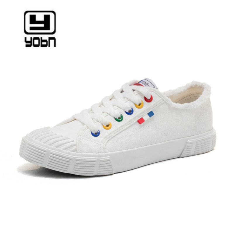 YOBN New Fashion Casual Women's Vulcanize Shoes Lace Up Ladies Canvas Shoes Female Leisure Flat Footwear Women Summer Shoes A128 huanqiu white women vulcanize canvas shoes low breathable female solid color flat shoes casual candy colors leisure cloth shoes