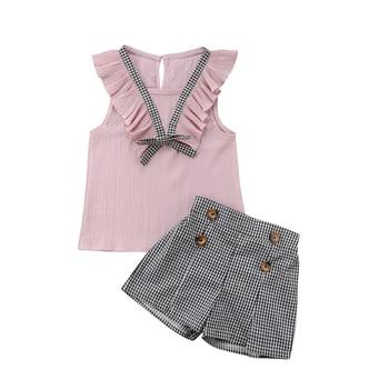 2pcs Toddler Infant Kids Baby Girls Clothes Sleeveless Ruffle  T-shirt Tops Plaid Short Pants Outfits Set conjuntos casuales para niñas