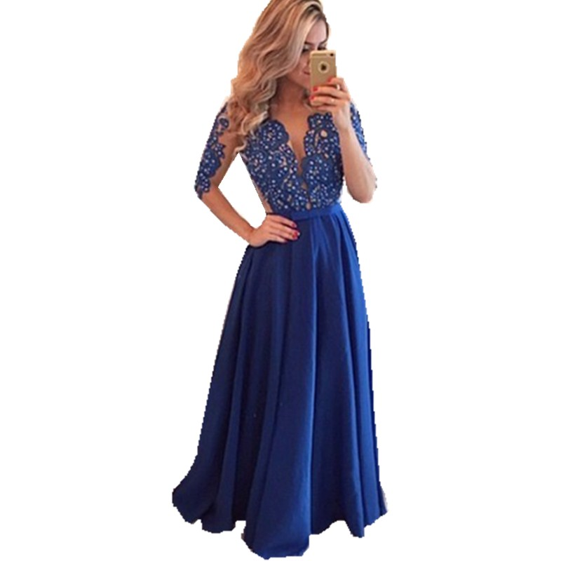 Half Sleeves Evening dress Royal Blue Party Dress with Beaded Lace Appliques Prom Dress Deep V