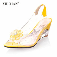 2018 Summer Crystal Flower Wedges Women Jerry Shoes Sweet Lady Grass Shoes Fashion Peep Toe High