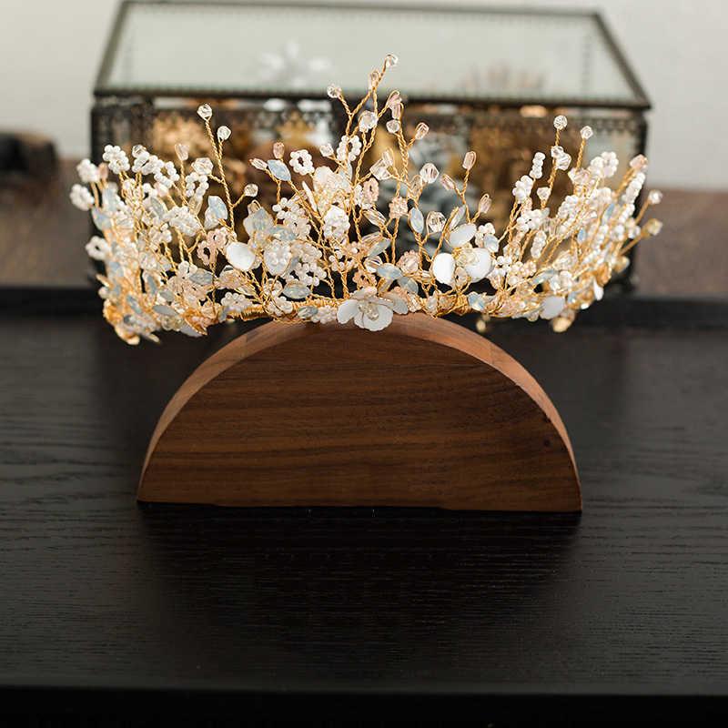 HIMSTORY fait à la main Oversize strass perle mariées diadèmes couronnes Bridals bandeaux chapeaux robe de mariée accessoires de cheveux